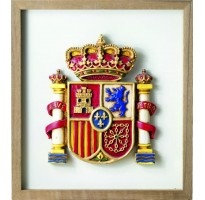Marco escudo bandera de España color GRABADA en cuadro