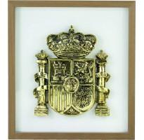 Marco escudo bandera de España oro GRABADA en cuadro