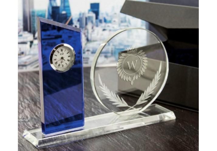 Cristal con reloj mesa GRABADO regalo agradecimiento