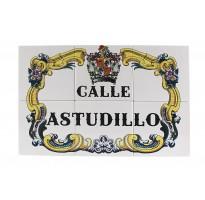 Placa de calle grabada nombre y escudo AZULEJOS ap-1302