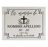 Placa grabada para cementerio ALUMINIO PLATEADO barata ap-0105-1