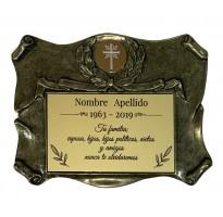 Placa grabada para cementerio ALUMINIO Y ZAMAK ap-0107