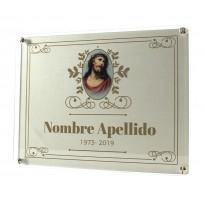 Placa grabada para cementerio METACRILATO Y ALUMINIO ap-0202