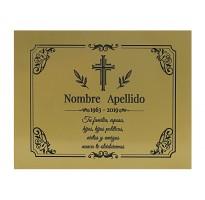 Placa grabada para cementerio ALUMINIO DORADO barata ap-0105-2
