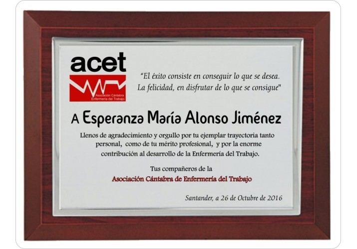 Placa de homenaje grabada ALTA CALIDAD 97312