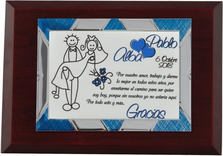 Placa de homenaje grabada 97241 regalo boda para padres