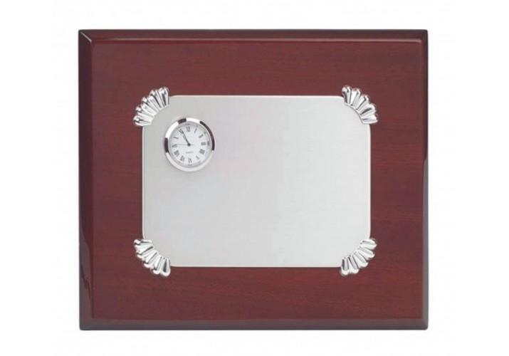 Placa de homenaje grabada PLATA DE LEY con reloj VN-219123R